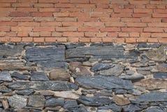 Steen en bakstenen muur Royalty-vrije Stock Foto's