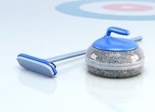 Steen en borstel voor het krullen op ijs 3d geef image vector illustratie