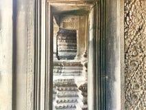 Steen gesneden muur Angkor Wat Hindoese Tempel kambodja stock afbeelding