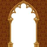Steen gotische poort met klassieke decoratieve achtergrond Royalty-vrije Stock Foto's