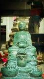 Steen groen van Gezicht Boedha Thai - Chinese stijl in Wat Leng Nei Yee Chinese-tempel Stock Afbeelding
