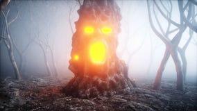 Steen het gillen hoofd in de de bosvrees en verschrikking van de mistnacht Mistycconcept Halloween het 3d teruggeven vector illustratie