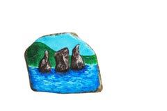Steen het schilderen Drie broers Kamchatka, Avacha-Baai stock afbeeldingen