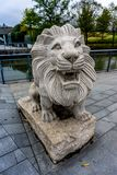 Steen Lion Sculpture stock afbeeldingen