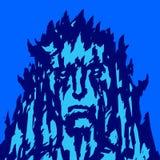 Steen menselijk gezicht met doornen Vector illustratie stock illustratie