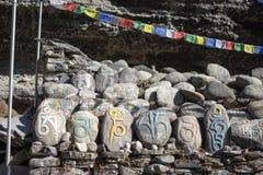Steen met tibetian mantras Tibet sanscrit Royalty-vrije Stock Fotografie
