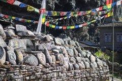 Steen met tibetian mantras Tibet sanscrit Royalty-vrije Stock Afbeelding
