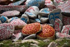 Steen met tibetian mantras Tibet sanscrit Royalty-vrije Stock Afbeeldingen