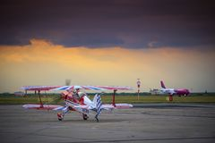 Steen Skybolt aerobatic airplane preparing for take-off for a demonstration flight at Timisoara Airshow. Romania Stock Images