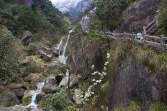 Steen Steile Stappen Trekking het lopen wandelingshuangshan Berg stock foto's