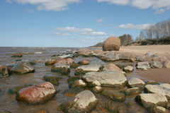 Steenachtig strand Royalty-vrije Stock Afbeelding
