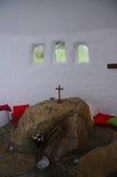 Steenaltaar in kapel ffald-y-Brenin stock fotografie