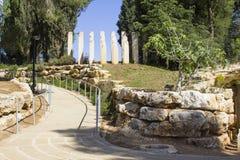 Steenbeeldhouwwerken bij de ingang aan het Kinderen` s Gedenkteken bij het de Holocaustmuseum van Yad Vashem in Jeruzalem Israël Royalty-vrije Stock Foto