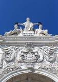 Steenbeeldhouwwerken die zich op de historische boog bevinden Royalty-vrije Stock Afbeeldingen