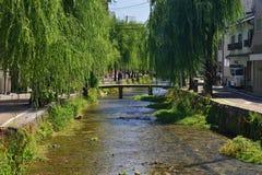 Steenbrug bij Gion-district, Kyoto Japan Stock Foto