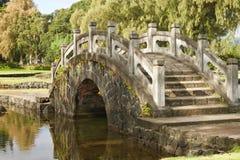 Steenbrug in een Japanse tuin, Hawaï stock afbeelding