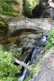 Steenbrug en cascades in Watkins Glen State Park stock foto
