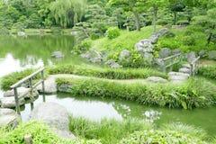 Steenbrug met houten kaders, watervijver, grassen Royalty-vrije Stock Foto's
