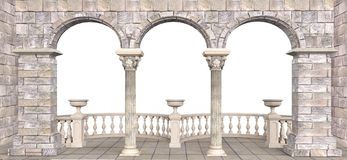 Steengalerij met kolommen en halfronde balustrades royalty-vrije stock foto's