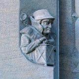 Steengravure van Grossmunster-kerk, Zürich, Zwitserland Stock Foto