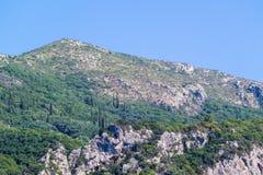 Steenheuvels of bergen met wild struikgewas Royalty-vrije Stock Foto