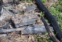 Steenkolen van een uitgestorven brand Stock Foto's