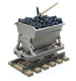 Steenkool in de mijnbouwkar Stock Afbeeldingen