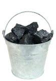 Steenkool in emmer Royalty-vrije Stock Foto