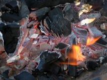 Steenkool en brand Stock Afbeeldingen