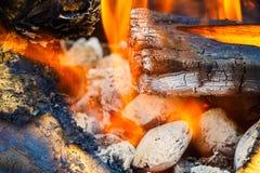 Steenkool en brandvlam royalty-vrije stock foto's