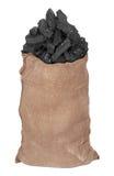 Steenkool in grote zak Stock Fotografie