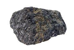 Steenkoolpyriet op wit wordt geïsoleerd dat Royalty-vrije Stock Foto