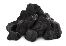 Steenkoolstapel op wit Royalty-vrije Stock Afbeeldingen