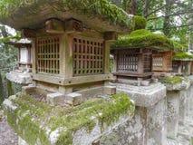 Steenlantaarns door mos in Nara worden behandeld dat royalty-vrije stock foto
