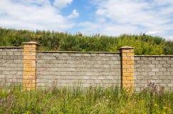 Steenmuur onder gras Royalty-vrije Stock Afbeeldingen