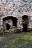 Steenmuur van een middeleeuws kasteel Stock Foto