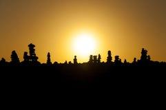 Steenpiramides op het zonsondergangstrand van Tenerife Royalty-vrije Stock Fotografie