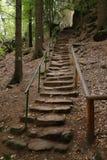 Steenstappen aan de steile heuvel Stock Foto's