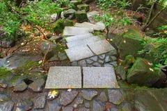 Steenstappen bij Japanse Tuin Autumn Season Royalty-vrije Stock Foto