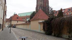 Steenstraat in het Tumsky-Eiland, dichtbij de Kathedraal polen wroclaw 2017 stock fotografie