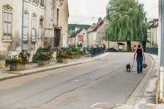 Steenstraat van de oude stad van Chablis stock afbeeldingen