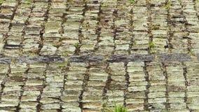 Steenstraatstenen in de regen stock footage