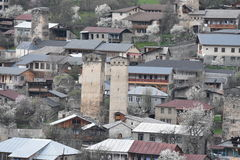 Steentorens in Mestia, svaneti, Georgië Stock Foto's