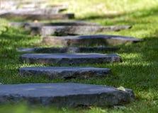 Steentrap met het omringen van groen gras Stock Afbeeldingen