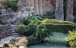 Steentuin langs vijver Royalty-vrije Stock Foto