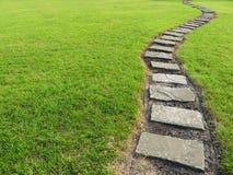 Steenweg in gras stock foto