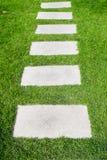 Steenweg op het groene gras stock foto