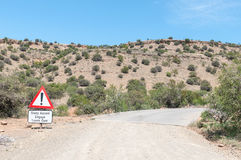 Steep ascend warning in the Mountain Zebra National Park Stock Photos