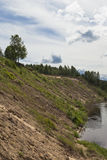 Steep bank of the river Vaga near the village Undercity Royalty Free Stock Photography