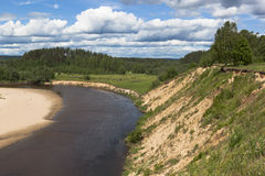 Steep bank rivers Vaga. River View near the village Undercity, Velsky district, Arkhangelsk region Royalty Free Stock Photography